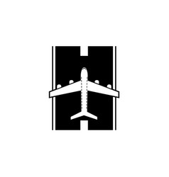 airplane on the landing site icon element of vector image