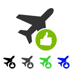 Airplane valid flat icon vector