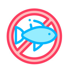 Allergen free sign fish thin line icon vector