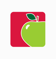 Apple icon simple flat fresh apple sign vector