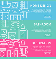 Bathroom decoration poster set in linear style vector