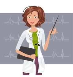 Beautiful woman cardiologist vector