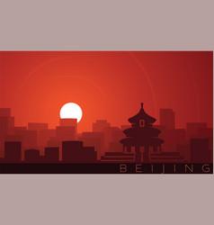 Beijing low sun skyline scene vector