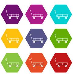 Big trolley icons set 9 vector