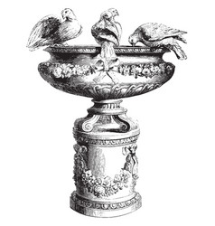 Bird bath vintage vector