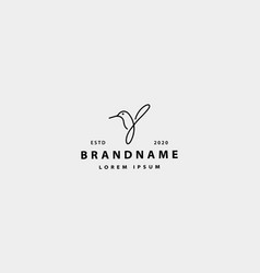 Bird colibri logo simple line design vector