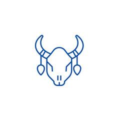 bull skull line icon concept bull skull flat vector image