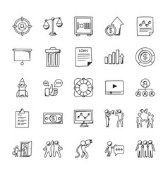 Business doodle icons set vector