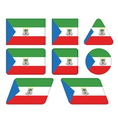 buttons with flag of Equatorial Guinea vector image