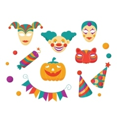 Carnival Flat Icons and Clements vector image