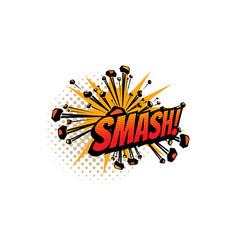 Cartoon comic book sound smash explosion cloud vector
