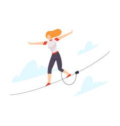 character walking tightrope vector image