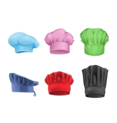 Chef hats multicolored set vector
