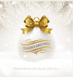 christmas white bauble with glitter gold bow vector image