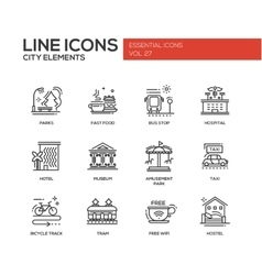 City elements - line design icons set vector