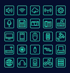 Collection of technology line icon vector