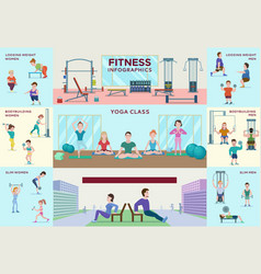Colorful fitness infographic horizontal banners vector
