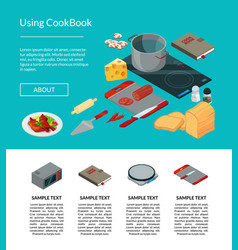 cooking food isometric objects website page vector image