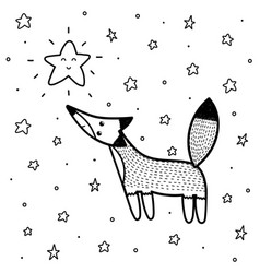 cute fox looking at star coloring page vector image