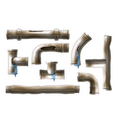 Damaged rusted steel pipes realistic set vector