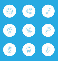 dental icons line style set with vitamins dentist vector image
