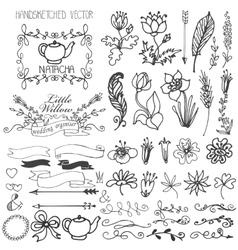 Doodle swirlsribbonsfloral decor element for vector image