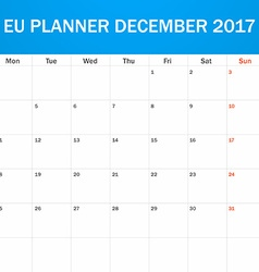 EU Planner blank for December 2017 Scheduler vector