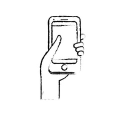 Figure smartphone digital technology to vector