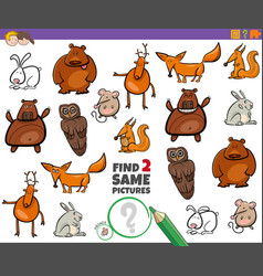 Find two same animals educational task for kids vector