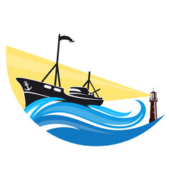 fishing boat on a wave and lighthouse vector image