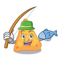 fishing nachos mascot cartoon style vector image
