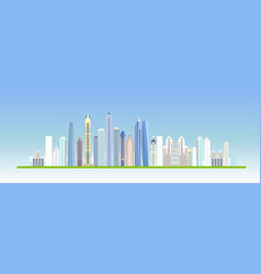 flat city building design urban skyline vector image