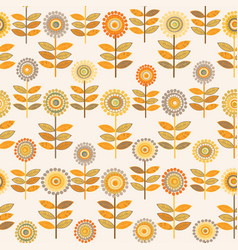 floral pattern with doodle sunflowers vector image
