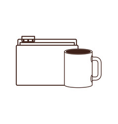 Folder with coffee cup in white background vector