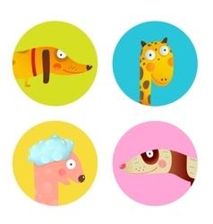 fun cartoon baanimals icons collection set vector image