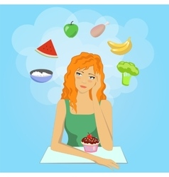 Girl decides to start a diet Want eat healthy vector image