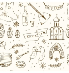hand drawn doodle russia travel seamless pattern vector image