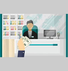 hand holding cash money office bank interior vector image