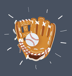 Hand in baseball glove and vector