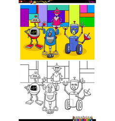 Happy robots characters group color book vector