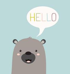 Hello card with bear vector