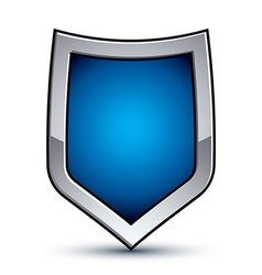 Heraldic blue emblem with silver outline 3d vector image