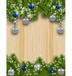 Holiday card green fir branches with silver and vector