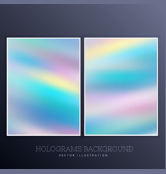 Holographic background set with vibrant colors vector