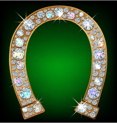 Horseshoe with diamonds vector