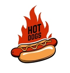 Hot dogs Hot dog in retro style with fire vector image