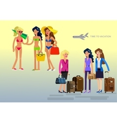 Hot girl on a beach vector image