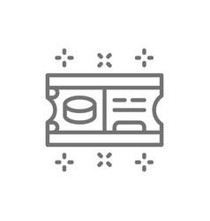 Ice hockey ticket line icon vector