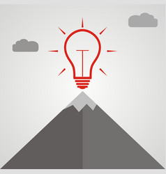 idea light bulb at the top of a mountain vector image