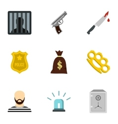 Illegal action icons set flat style vector